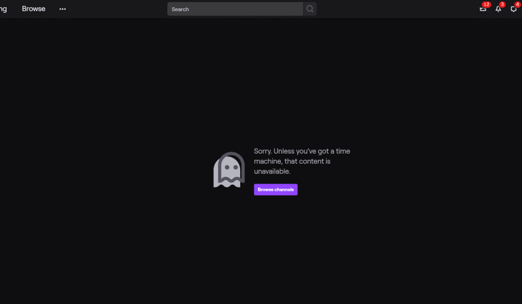 FaZe Dubs Banned On Twitch. Screenshot of the page you're greeted by when trying to access FaZe Dubs' Twitch channel.