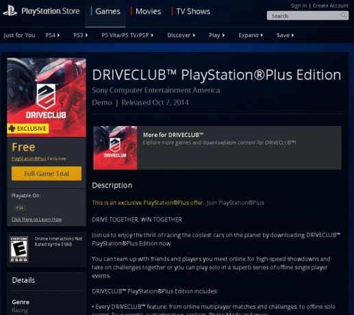 driveclub ps plus