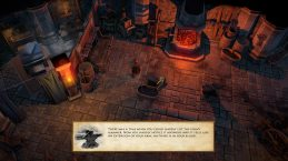 Many locations in the game are shown in a detailed isometric style, with a camera view that can be rotated and zoomed. Here you see Tungdil's forge in Lot-Ionan's Vaults.
