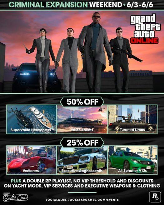 GTA Online Criminal Expansion Weekend Details (June 3 - 6)