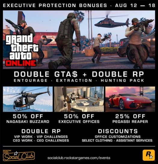 GTA Online Executive Protection Bonuses - Double GTA$ Modes, Half off Exec Offices & More
