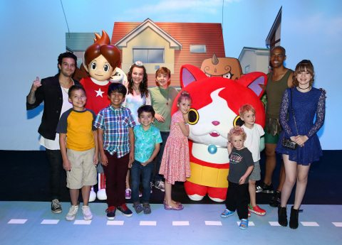 HOLLYWOOD, CA - SEPTEMBER 08:  Mark Ballas of ABC's Dancing with the Stars, influencer EvanTubeHD, actors Merit Leighton, Benjamin Stockham, influencers Jacob Ballinger, Parker Ballinger, and 'Dance It Out' founder Billy Blanks Jr.  interact with costume character Jibanyan at the YO-KAI WATCH 2 preview event at Siren Studios on September 8, 2016 in Hollywood, California.  (Photo by Joe Scarnici/Getty Images for Nintendo) *** Local Caption *** Billy Blanks Jr.;Mark Ballas;Jacob Ballinger, Parker Ballinger