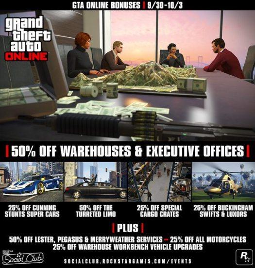 GTA Online Bonuses: Half Off Warehouses & Executive Offices, Unlockable Yellow Swirl Pajamas & Smoking Jacket, Discounts and More