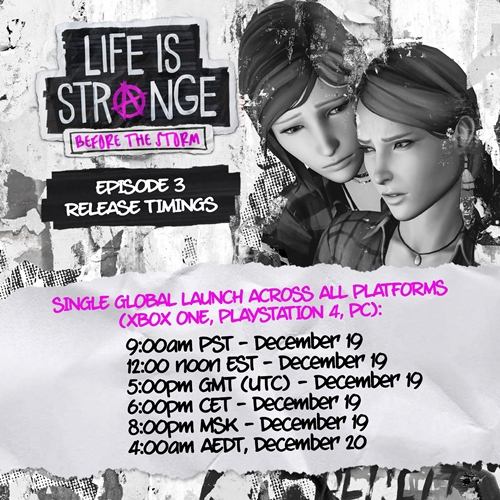 LIFE IS STRANGE: BEFORE THE STORM – Episode 3 Global Release Timings Announced