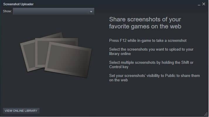 find screenshot using steam client