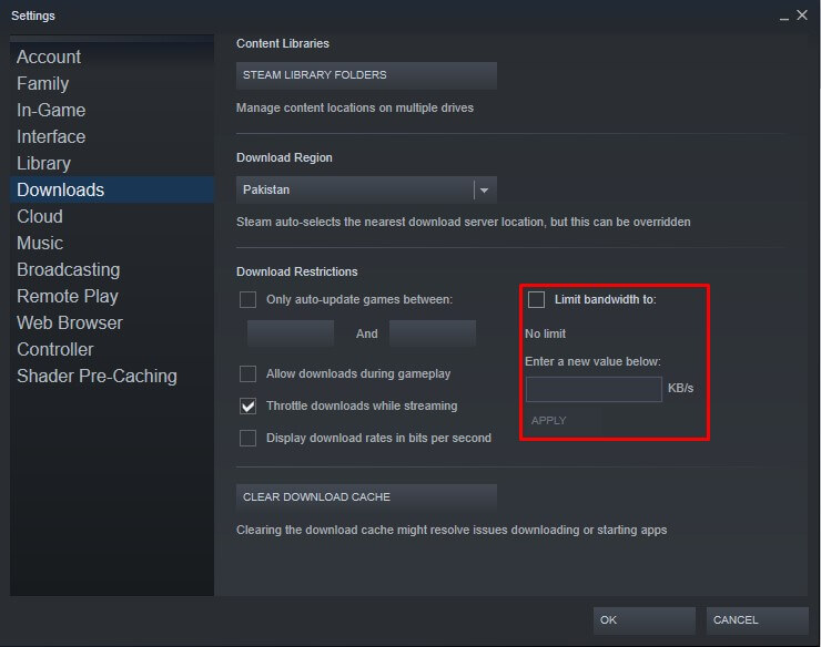 steam remove bandwidth limit