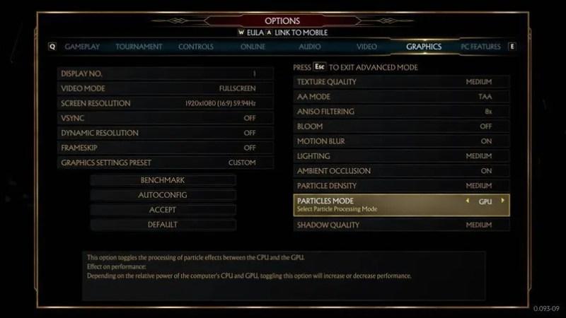 best advanced graphics settings for mortal kombat 11