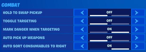 fortnite combat settings