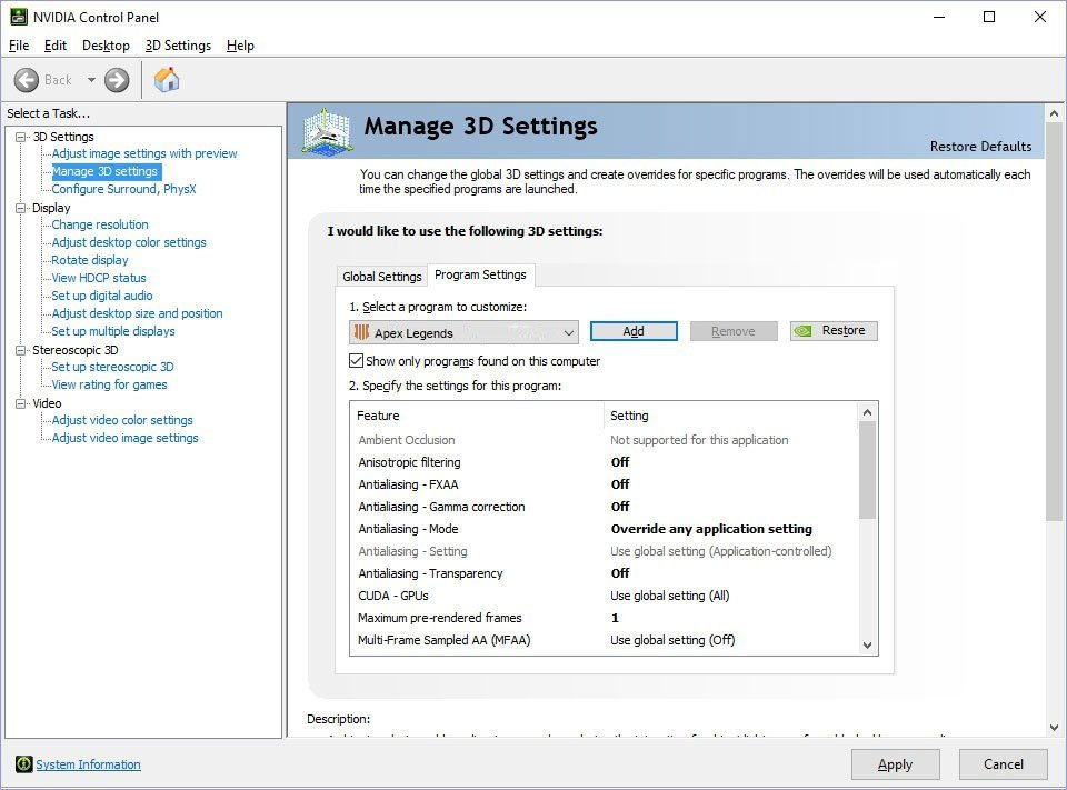 Apex Legends NVIDIA Settings Optimization