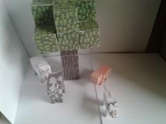 Tree, Sheep, Cow, Pig, Wolf. Minecraft cutout animals