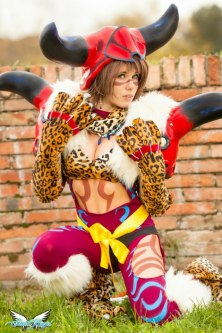 Sexy yuna cosplay photo. Yuna with leopard