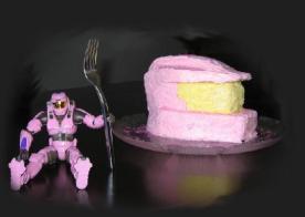 pink spartan and helmet cake