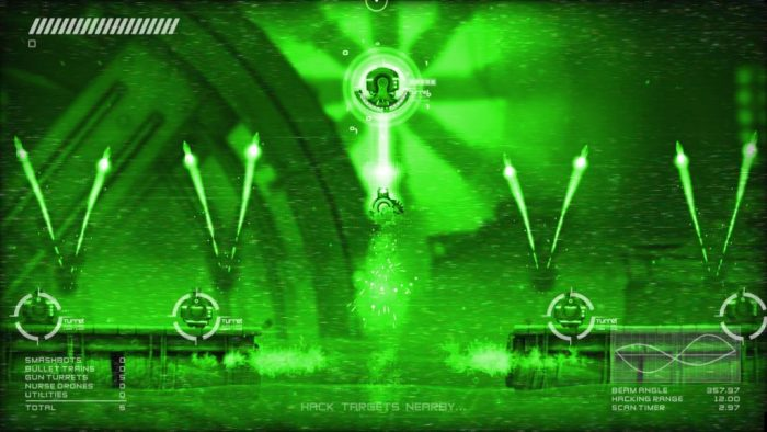 The hacking mechanic brings a strategic aspect to shooter game mechanics.