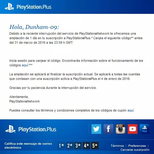 PlayStation Plus Down Reward
