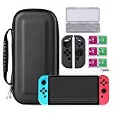 Bestico Protector Kit per Nintendo Switch, Switch Accessori 7 in 1 include Nintendo Switch Custodia/Case per Game Card /3pcs HD Pellicole Protettive per Nintendo Switch / Cover Protettiva in silicone Joy-Con