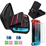 Accessori per Nintendo Switch, include Custodia da trasporto per Nintendo Switch / Supporto regolabile / Pellicola Protettiva in Vetro Temperato (confezione da 2),Jusoney nintendo switch custodia con