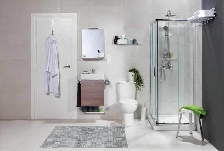 Reformar cuarto baño donde aparece un cuarto de baño con todos los elementos de agua en una misma pared.