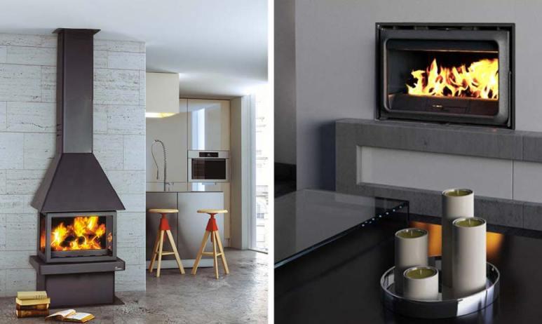 Chimenea en casa con dos fotografías de dos tipos de chimeneas. Una de estilo más rústico y una más moderna.