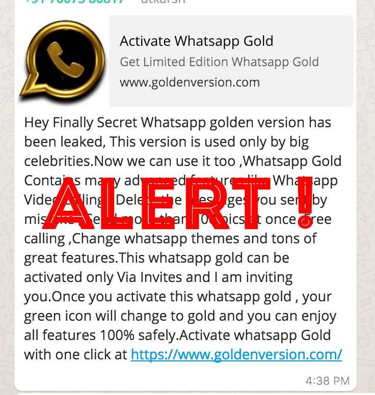 whatsapp Golden fake or real spam