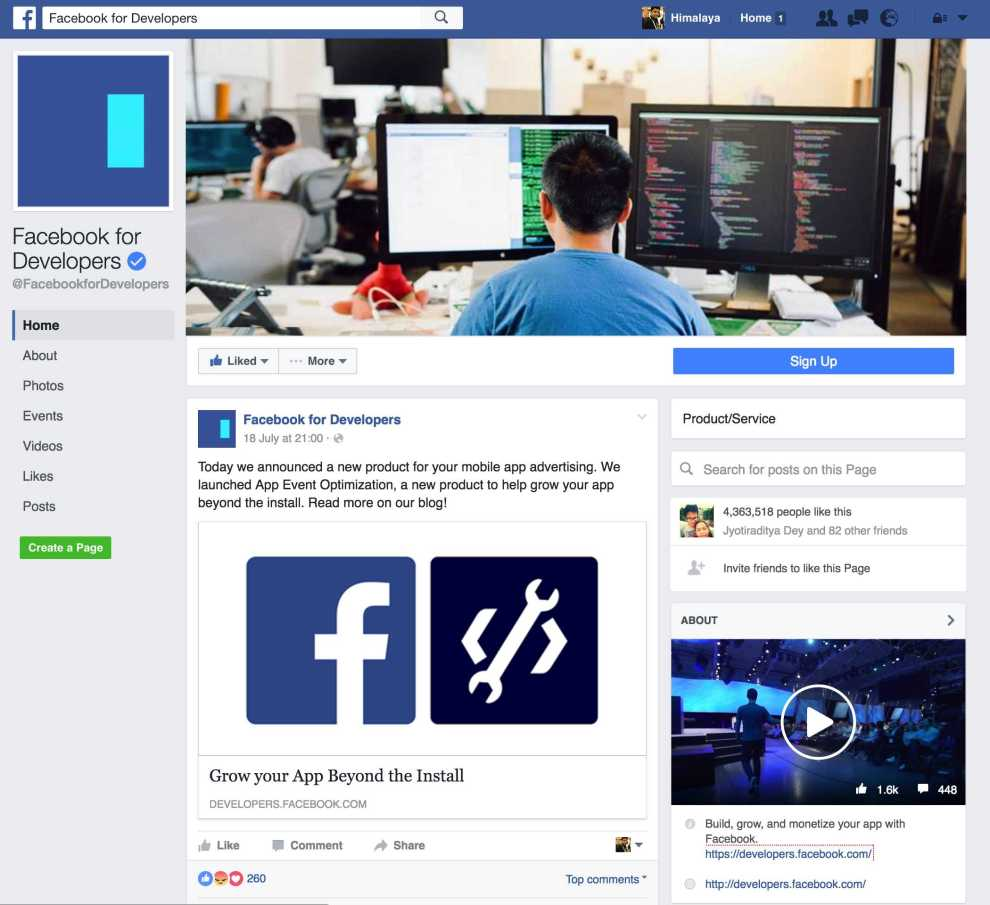 facebook page layout 2016