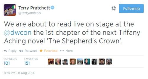 Un tweet di Terry Pratchett risalente all'anno scorso in cui annuncia la lettura del primo capitolo di The Shepherd's Crown