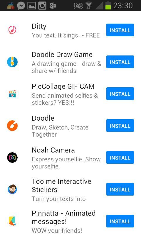 Ecco Doodle Draw quando lo cercate tra le app su Messenger