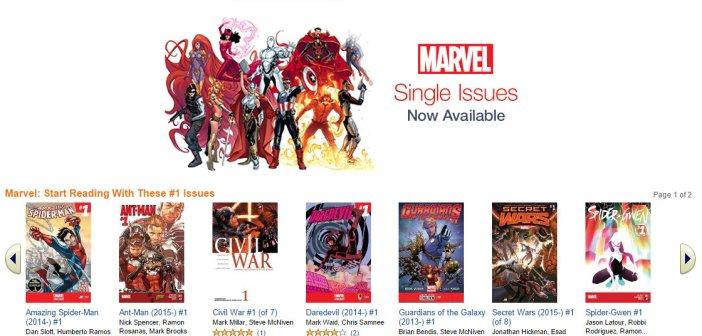 La schermata di presentazione dei fumetti Marvel sul Kindle Store