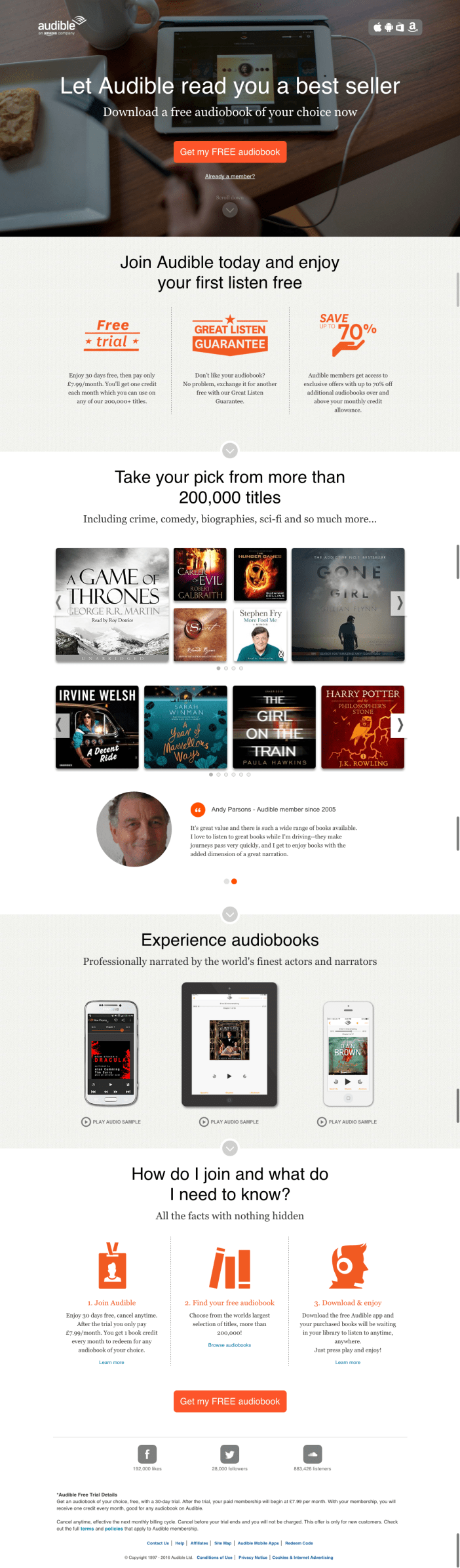Audible.co.uk - Landing Page - Gamobu
