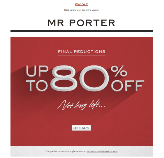 Mr Porter - Sconto 80% - Esempio Email Marketing - Gamobu