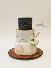 Birch Bark And Chalkboard Wedding Cake