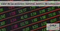 Valor de las acciones: nominal, teórico, de cotización