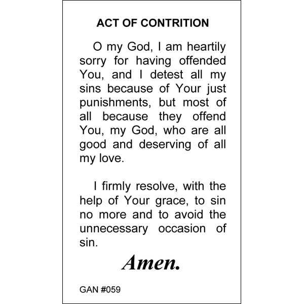 Act Of Contrition Prayer Card Gannons Prayer Card Co