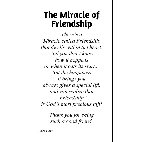 Miracle of friendship prayer card gannons prayer card co miracle of friendship prayer card thecheapjerseys Choice Image