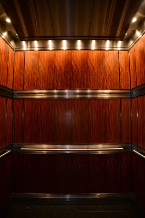 A view from the front, the custom elevator cabin at the Legacy, Chicago, IL