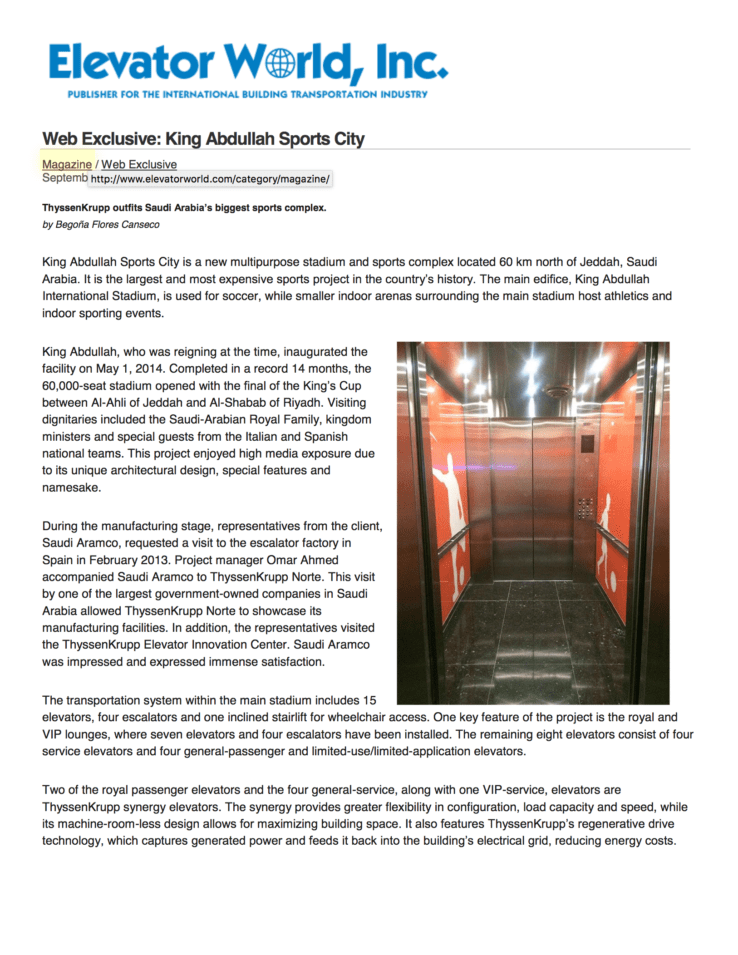 Two of the royal passenger elevators and the four general service, along with one VIP service, elevators are ThyssenKrupp synergy elevators and G&R Custom Elevator Cabs provided the design engineering and manufacturing of the custom elevator interiors.