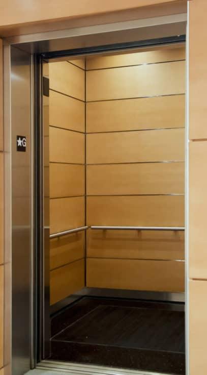 Left Side of Elevator Cab EPIC Solution GR601e elevator interior design at the new Minnesota State Legislative Office Building, St. Paul MN
