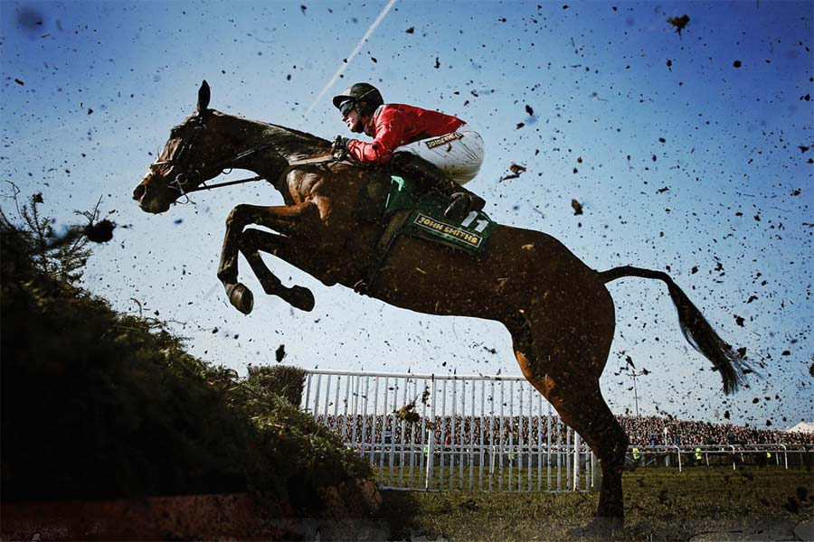 An image of a horse racing in the Grand National Festival - book a chauffeur to this event from GandT Executive