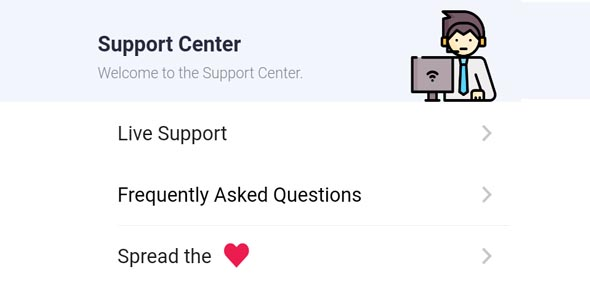 Support Center with Share the app for Version 2 of Karenderia Mobile App