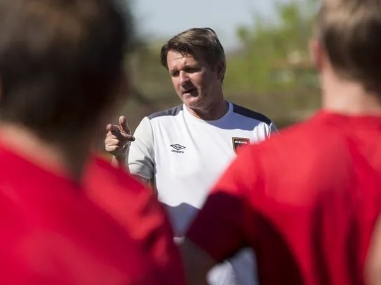 Head coach Frank Yallop (center) of the Phoenix Rising