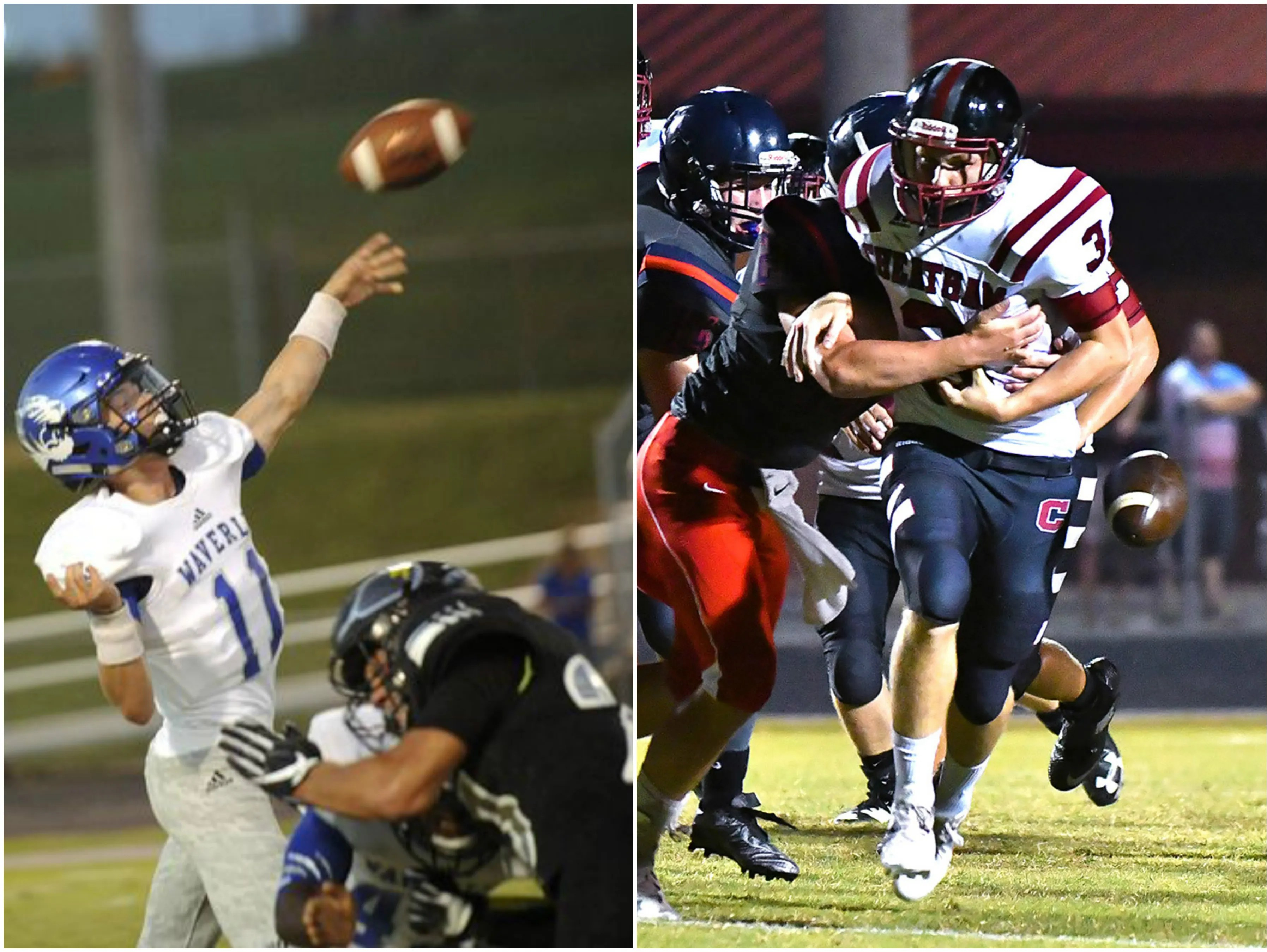 Waverly Central quarterback Gavin Stanfield (left) and Cheatham County running back Dylan Lassiter (right).