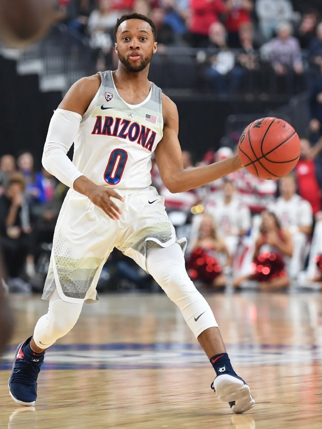 Mar 10, 2018; Las Vegas, NV, USA; Arizona Wildcats guard Parker Jackson-Cartwright (0) looks to pass during the Pac-12 Tournament championship against the USC Trojans at T-Mobile Arena. Mandatory Credit: Stephen R. Sylvanie-USA TODAY Sports