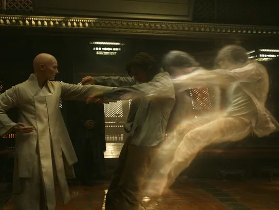 The Ancient One (Tilda Swinton, left) teaches Stephen
