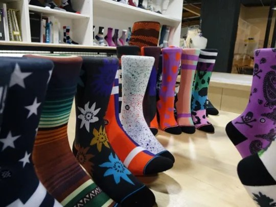 Rows of Stance socks on display at company headquarters