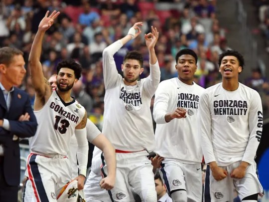 Gonzaga Bulldogs bench reacts during the second half