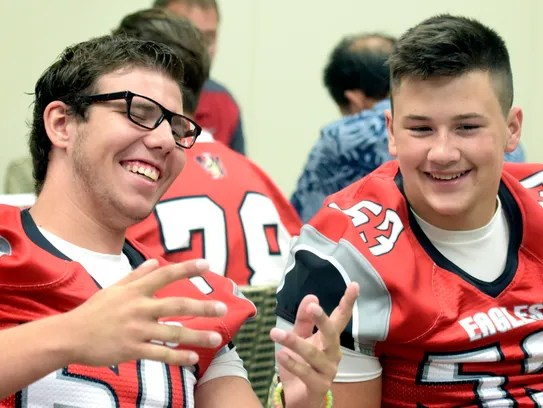 Dover's Shad Murphy, left, and Chase Heath have a laugh