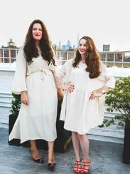 Mimi Hecht, left, in the Moses Dress ($128) and Mushky