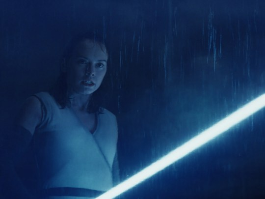"Seen here in ""Star Wars: The Last Jedi,"" lightsaber-wielding heroine Rey (Daisy Ridley) returns in ""Episode IX."""
