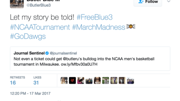 Butler mascot not allowed inside NCAA tournament again, tweets '#FreeBlue3'