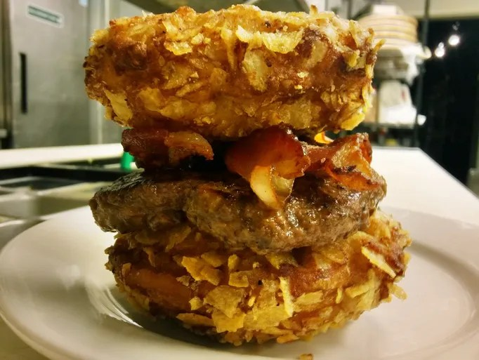 The over-the-top PB & J Bun Burger served by PYT in