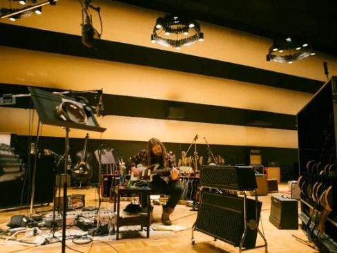 Chris Stapleton works on music in the recording studio.